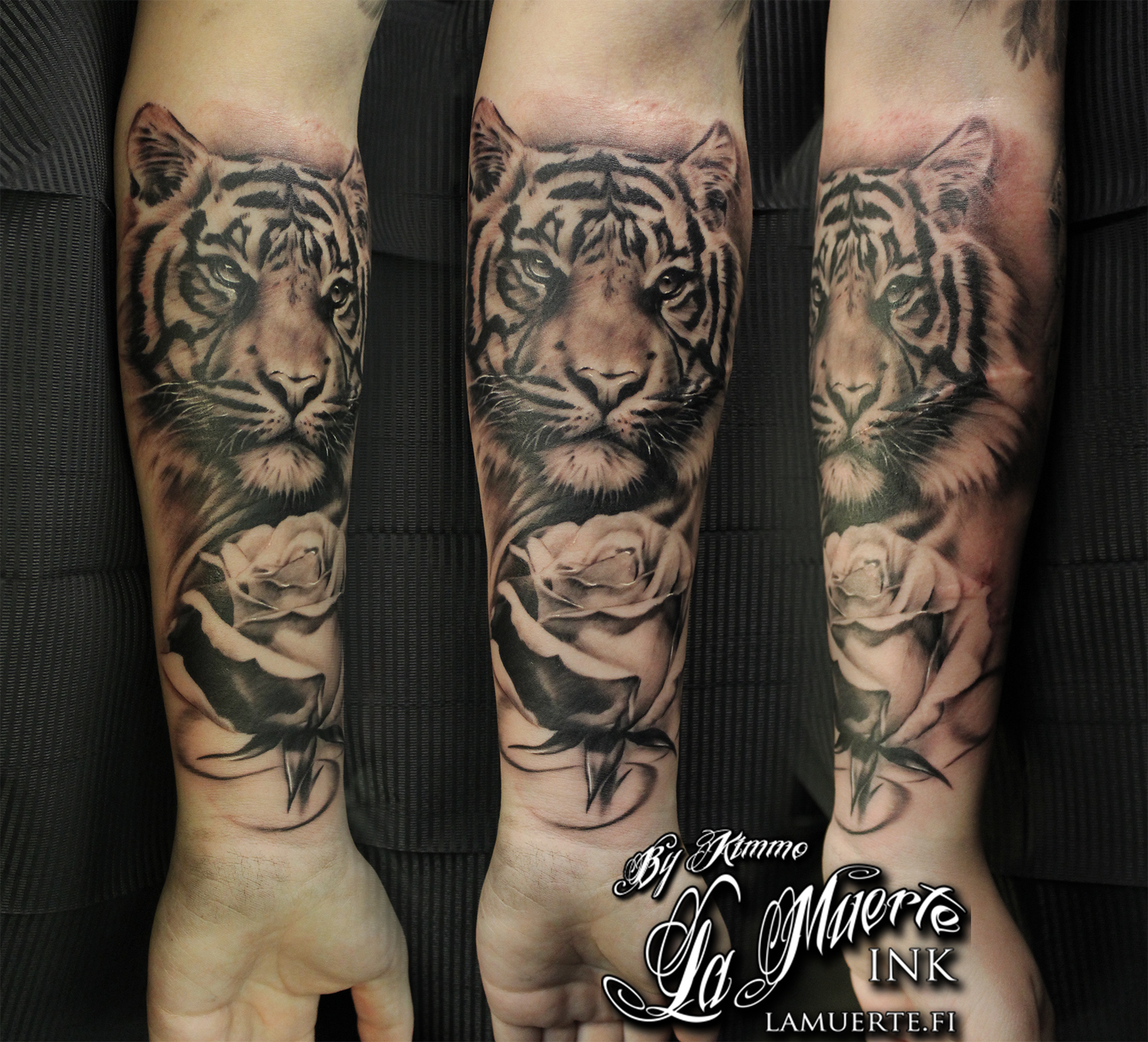 88913adb2db0d Tiger Rose Realistic Portrait Animal Tattoo Realism Eyes Grey Black Grey  Forearm. Artist: Kimmo