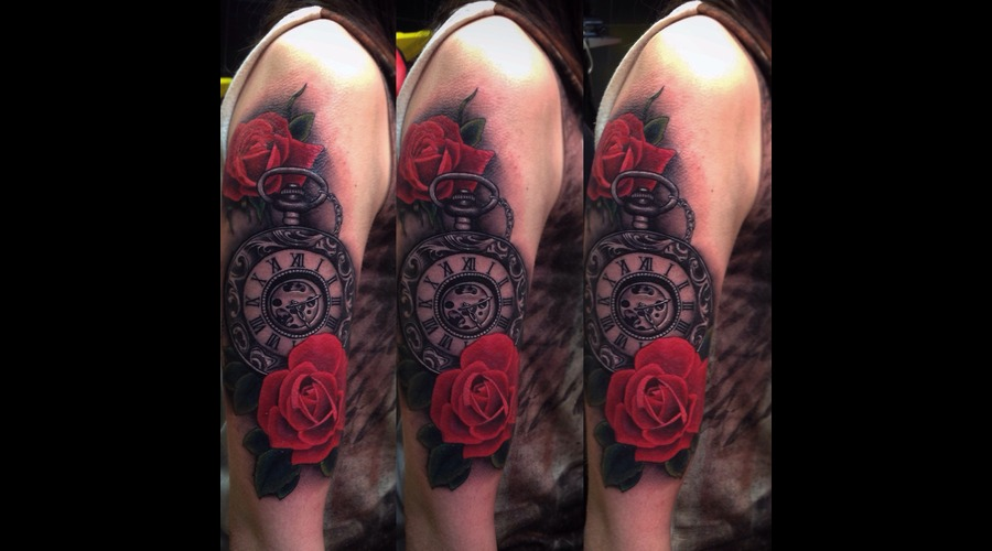 Pocketwatch & Roses  Arm