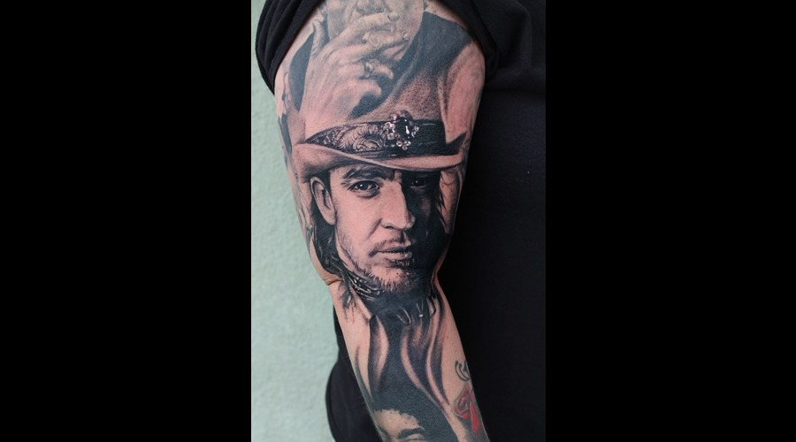 Stevie Ray Vaughan  Srv  Musician  Portrait Black Grey Arm