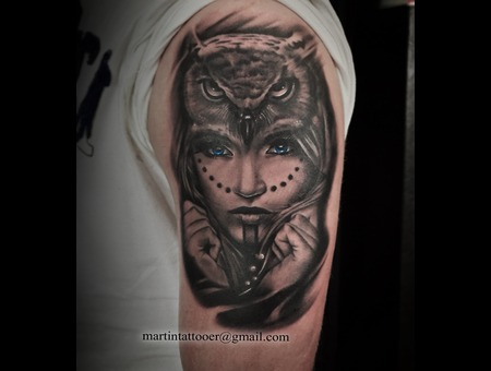 Face Owl Blackandgrey Realistic Realism Tattoo Arm Arm