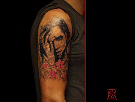 Girl Portrait Tattoo Montreal Gabor Zsil Arm