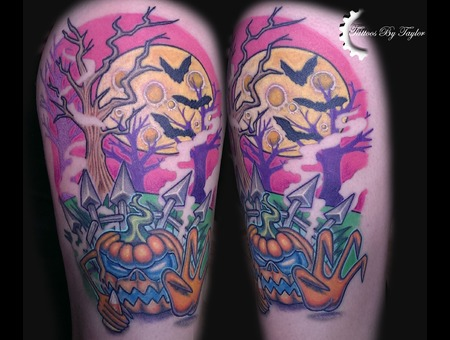 Color  Newschool  Halloween  Pumpkin  Moon  Candy Corn  Bats  Color Thigh