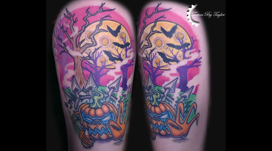 Color  Newschool  Halloween  Pumpkin  Moon  Candy Corn  Bats  Color Thigh