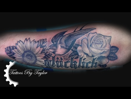 Black And Grey  Flowers  Rose  Sunflower  Swallow Black Grey Forearm
