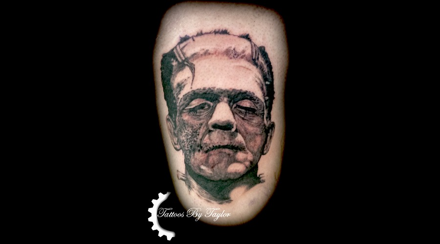 Frankenstein  Black And Grey  Portrait  Monster Black Grey Thigh