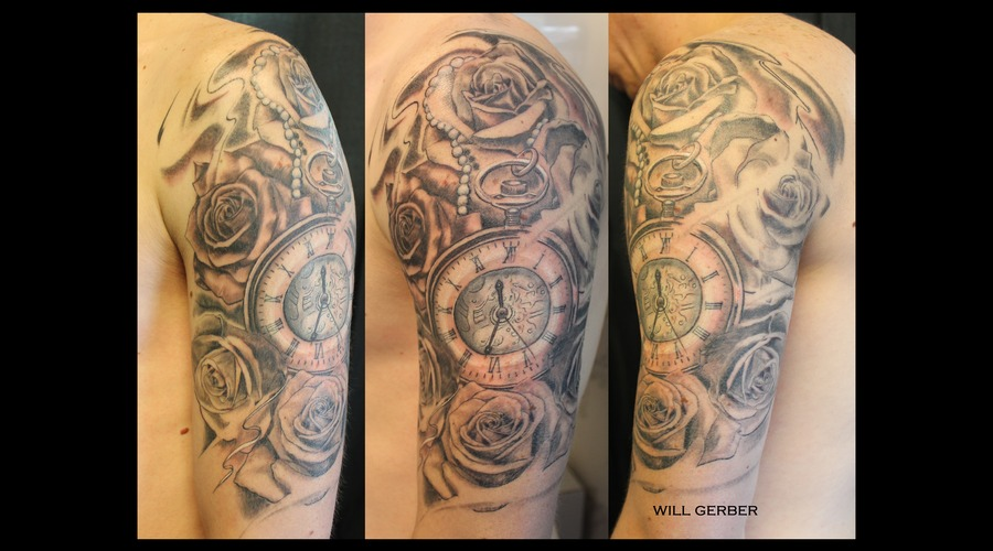 Clock  Roses  Flowers Shoulder