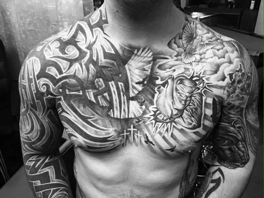 Amazing chest tattoos by approved artists