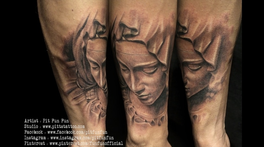 Mother Mary Black And Grey Tattoo By Pit Fun  Forearm