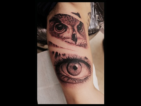 Owl Eye Blackandgrey Tattoo Animal Arm