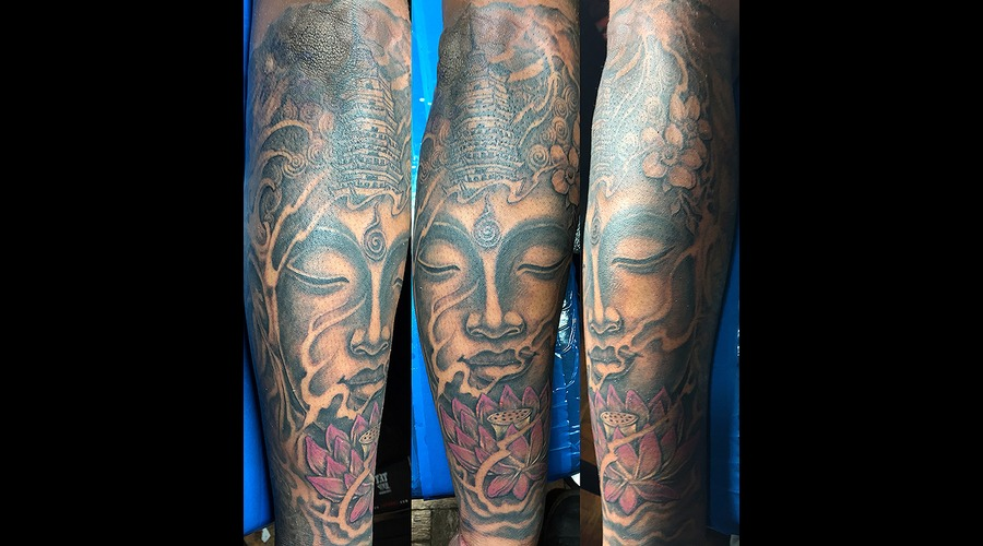 Buddha Blazed Black Grey Forearm