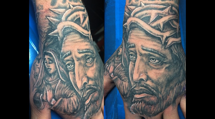 Jesus & Mary Black Grey Forearm