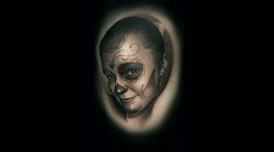 Day Of The Dead  Portrait  Realism  Black And Grey Arm