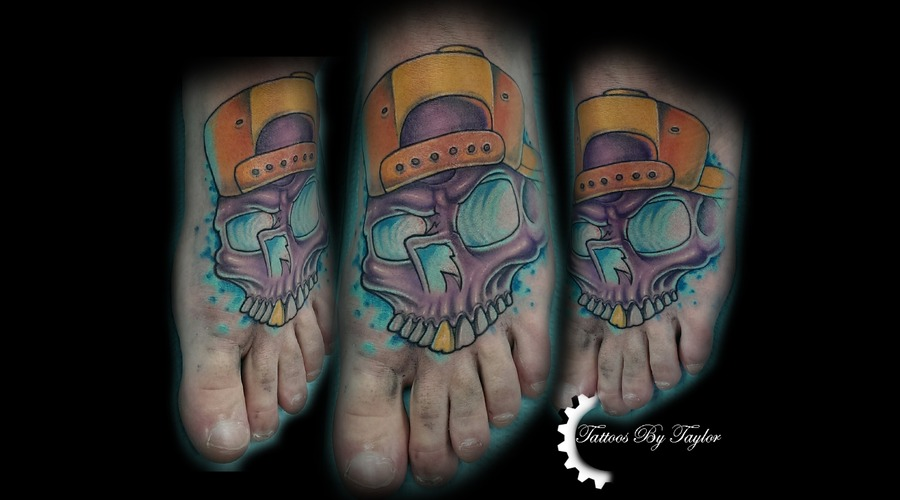 Skull  Foot Tattoo  Color  Glowing Eyes. Color Foot