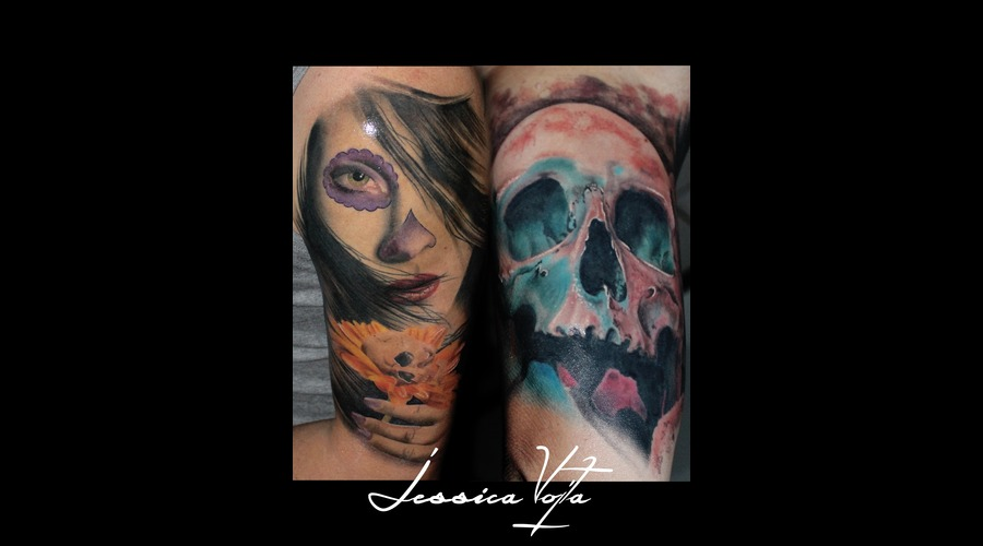Muerta  Flower  Skull Arm