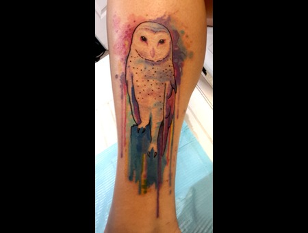 Watercolortattoo  Owltattoo  Colortattoo Lower Leg
