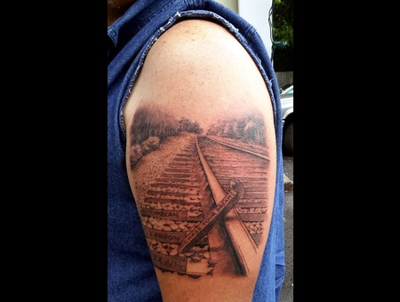 Blackandgrey  Blackandgreytattoo  Railroadtattoo Arm