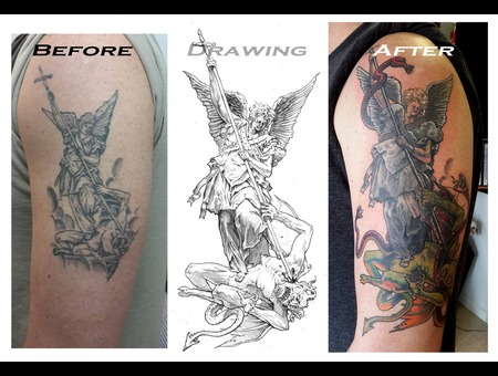 Coverup  Coveruptattoo  Saintmichaeltattoo  Colortattoo Arm