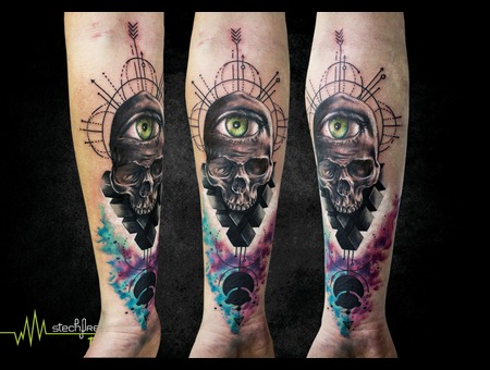 Skull  Abstract  Watercolor Arm