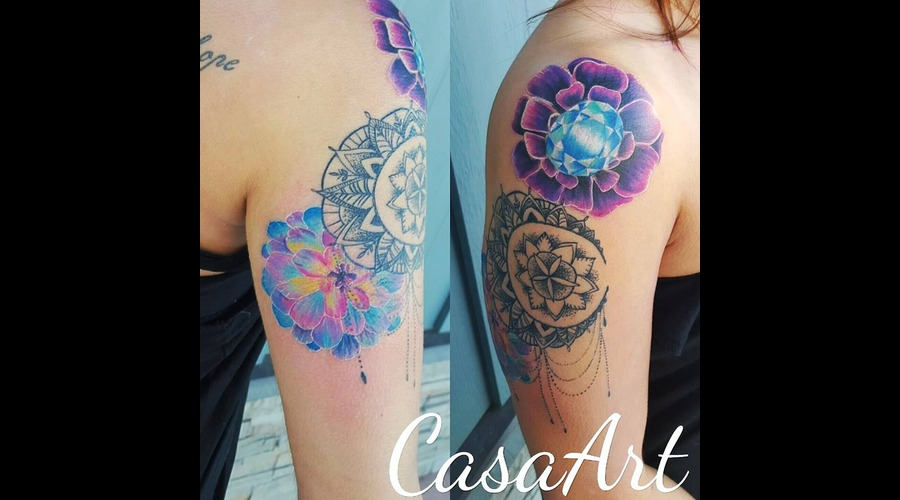 Flower. Realism. Jewel. Mandala. Dot Work Arm