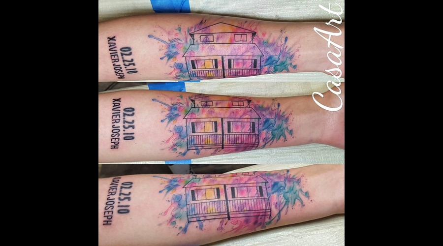 Watercolor. House. Abstract. Geometric Arm