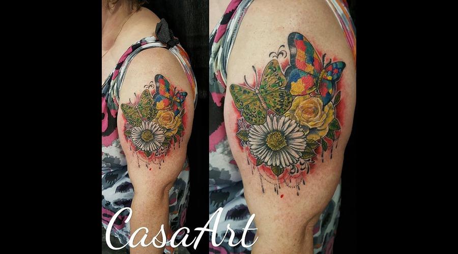 Autism. Butterflies. Flower. Neotrad. Puzzle. Arm