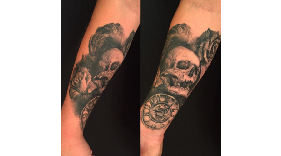 Skull Tattoo  Clock Tattoo  Rose  Rose Tattoo  Black And Grey  Skull  Forearm