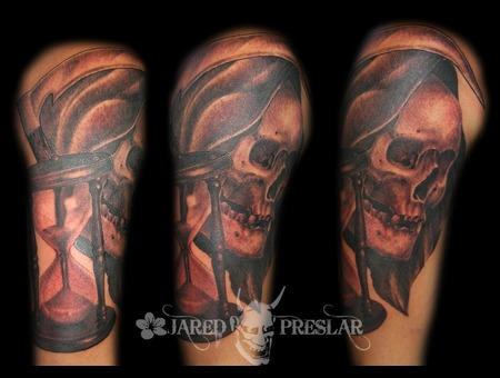 Grim Reaper  Skull  Hourglass Black White