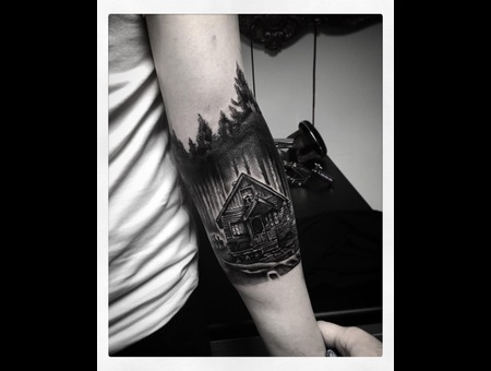Cabin In The Woods   Forest Tattoo Forearm