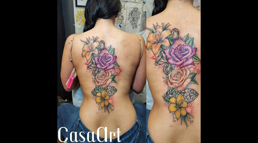 Flower. Rose. Lily. Neotrad. Scars Cover Up Back