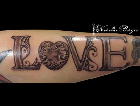 Ornate  Victorian  Love  Lettering Forearm