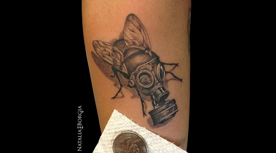 Fly  Toxic  Gasmask  Gas  Mask  Small  Tiny  Insect Forearm