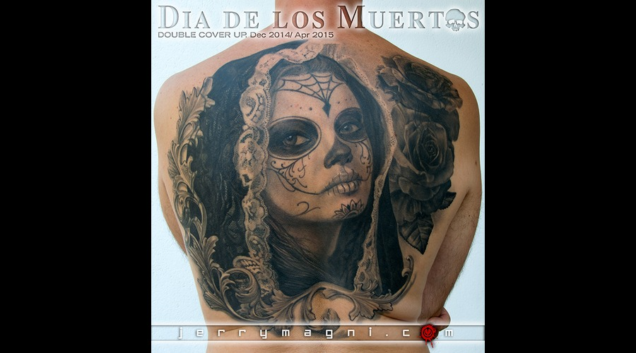 Dia De Los Muertos  Girl  Black Grey Back