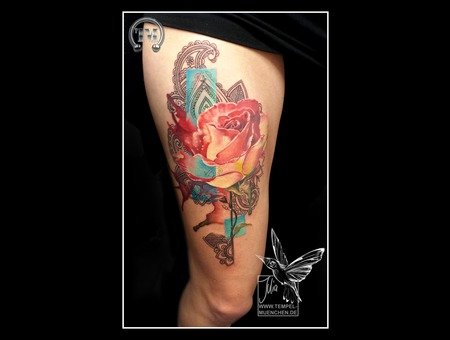 Rose  Mandala  Watercolor  Aquarell   Thigh