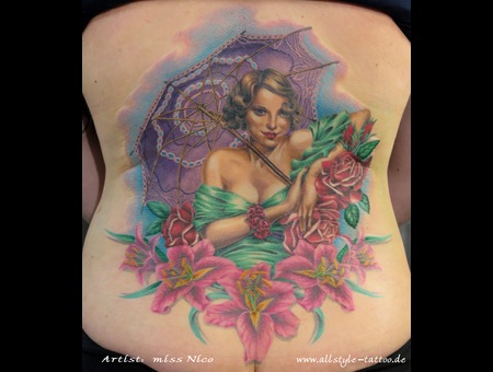 Missnico Pinup Realistic Lilly Girl  Colortattoo Umbrella Lilie Back
