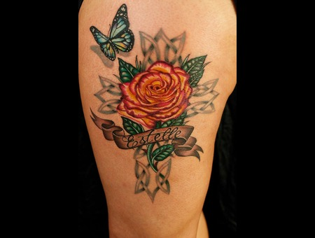 Butterfly  Rose  Celtic Cross Color Thigh