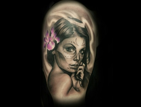 Day Of The Dead  Black And Grey   Portrait  Arm