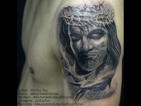 Jesus Christ Black And Grey Arm