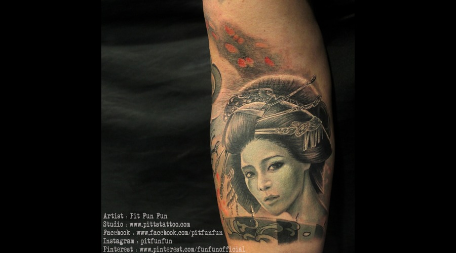 Black And Grey Geisha Tattoo Forearm