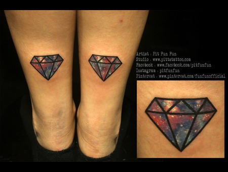 Diamond Tattoo By Pit Fun Lower Leg