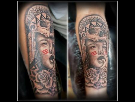 Black & Gray Indian Girl Forearm