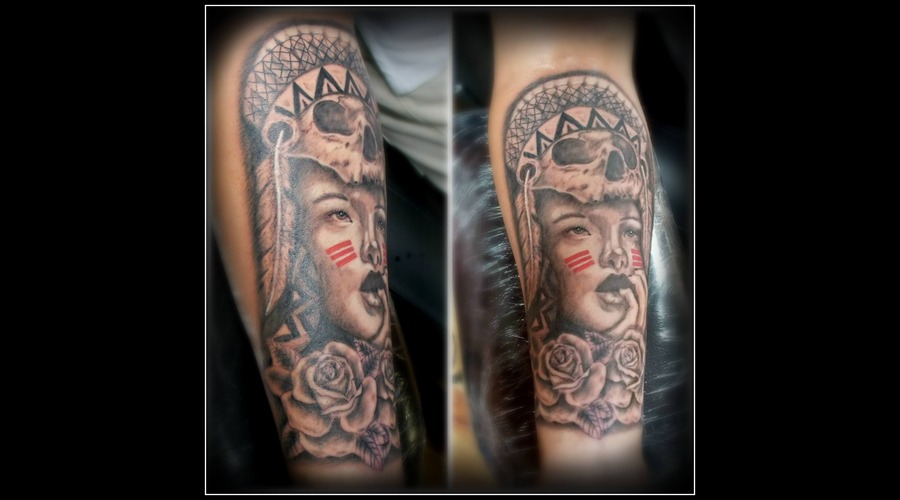 Black & Gray Indian Girl Forearm