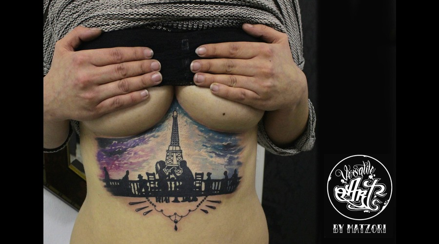 Paris  Colorful  Underboob  Tattoo  Love Chest