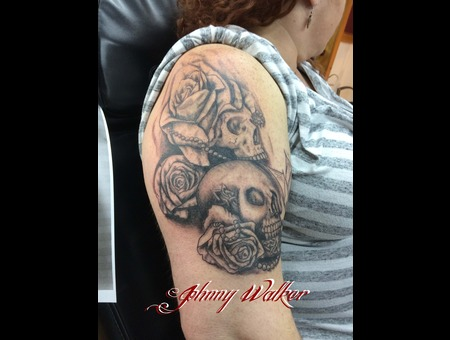 Skull  Tattoo  Rose  Butterfly  Arm  Girl  Woman   Arm