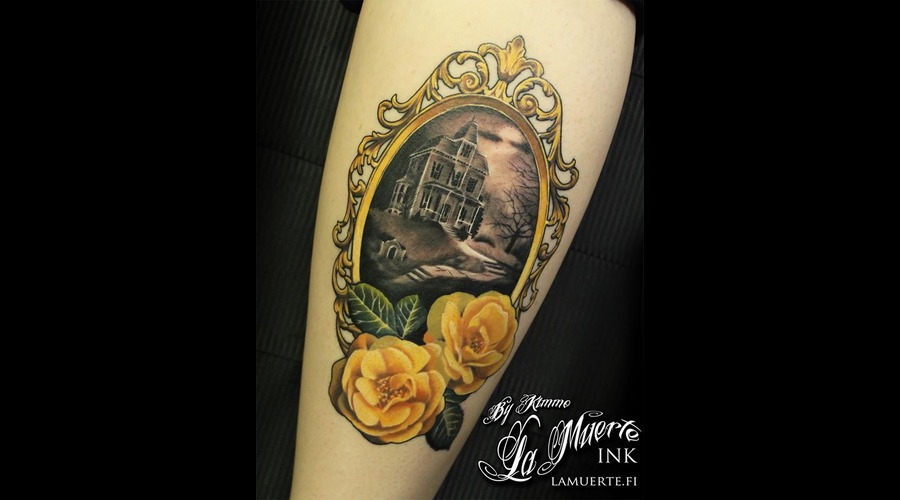 Haunted  House  Victorian  Frame  Flowers  Roses  Healed  Neo  Traditional Color Lower Leg