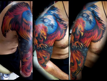 Phoenix. Bird  Free Hand  Color Arm