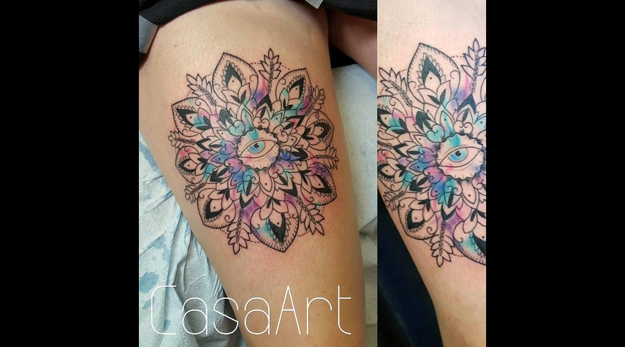 Mandala  Watercolour  Illuminati  Spiritual Thigh
