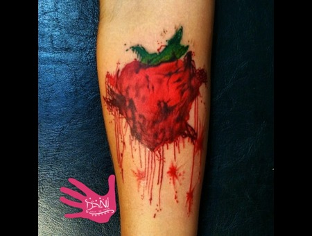 Watercolor  Color  Splash   Beatles  Tattoos   Heart   Strawberry  Aus   Sy Forearm