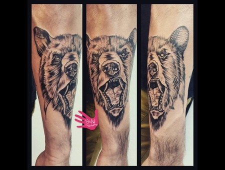Sketch   Bear  Art  Drawing   Tattooist   Sydney  Aus  Dots Forearm