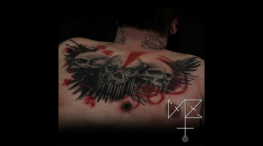 Skulls Wings Trash Polka  Abstract Black Grey Chest
