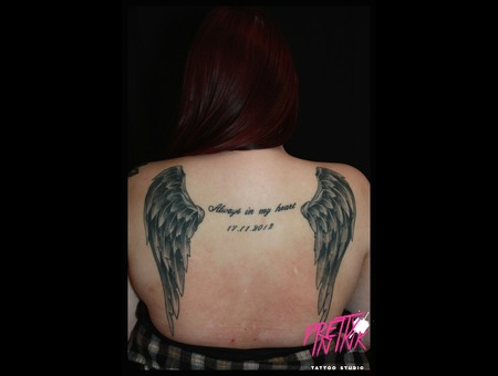 Wings  Text  Angel Wings   Black Grey Back